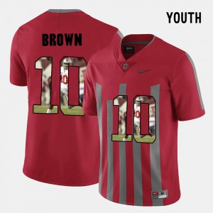 #10 CaCorey Brown Ohio State Buckeyes Pictorial Fashion For Kids Jersey - Red