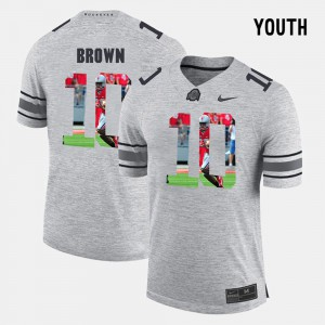 #10 CaCorey Brown Ohio State Buckeyes Kids Pictorial Gridiron Fashion Pictorital Gridiron Fashion Jersey - Gray