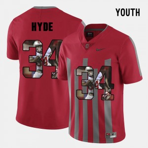 #34 CameCarlos Hyde Ohio State Buckeyes Youth(Kids) Pictorial Fashion Jersey - Red
