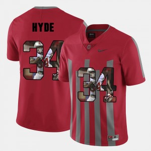 #34 CameCarlos Hyde Ohio State Buckeyes Pictorial Fashion Men's Jersey - Red