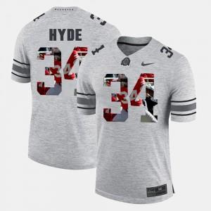 #34 CameCarlos Hyde Ohio State Buckeyes Men Pictorital Gridiron Fashion Pictorial Gridiron Fashion Jersey - Gray