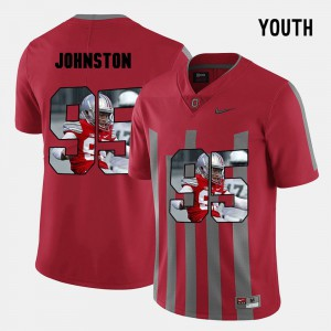 #95 Cameron Johnston Ohio State Buckeyes Pictorial Fashion For Kids Jersey - Red