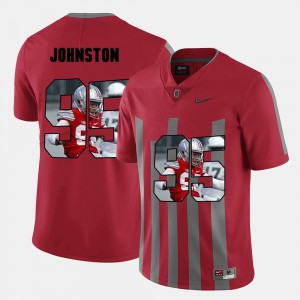 #95 Cameron Johnston Ohio State Buckeyes Men's Pictorial Fashion Jersey - Red