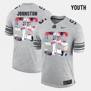 #95 Cameron Johnston Ohio State Buckeyes Pictorital Gridiron Fashion For Kids Pictorial Gridiron Fashion Jersey - Gray