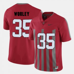 #35 Chris Worley Ohio State Buckeyes College Football For Men's Jersey - Red
