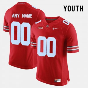 #00 Ohio State Buckeyes College Limited Football Youth(Kids) Custom Jersey - Red