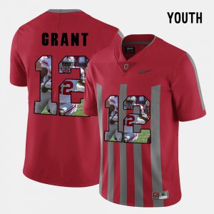 #12 Doran Grant Ohio State Buckeyes Kids Pictorial Fashion Jersey - Red