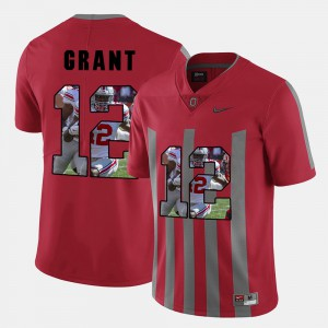 #12 Doran Grant Ohio State Buckeyes Pictorial Fashion For Men Jersey - Red
