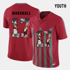 #17 Jalin Marshall Ohio State Buckeyes Pictorial Fashion For Kids Jersey - Red