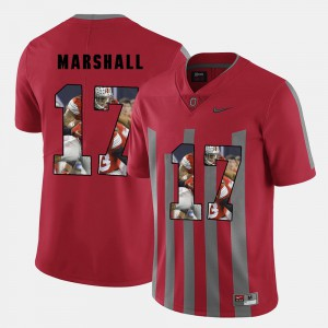 #17 Jalin Marshall Ohio State Buckeyes Men Pictorial Fashion Jersey - Red