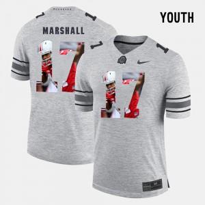 #17 Jalin Marshall Ohio State Buckeyes Pictorital Gridiron Fashion Youth(Kids) Pictorial Gridiron Fashion Jersey - Gray