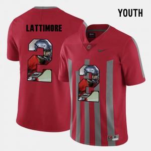 #2 Marshon Lattimore Ohio State Buckeyes Pictorial Fashion Youth(Kids) Jersey - Red