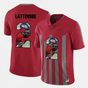 #2 Marshon Lattimore Ohio State Buckeyes Pictorial Fashion For Men's Jersey - Red