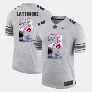 #2 Marshon Lattimore Ohio State Buckeyes Pictorital Gridiron Fashion Pictorial Gridiron Fashion Mens Jersey - Gray