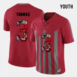 #3 Michael Thomas Ohio State Buckeyes Youth(Kids) Pictorial Fashion Jersey - Red