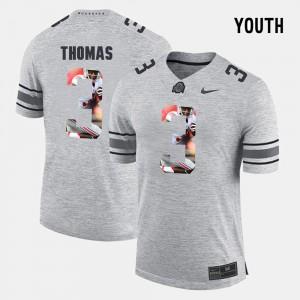 #3 Michael Thomas Ohio State Buckeyes Pictorial Gridiron Fashion Pictorital Gridiron Fashion For Kids Jersey - Gray