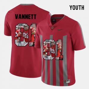 #81 Nick Vannett Ohio State Buckeyes Pictorial Fashion Kids Jersey - Red