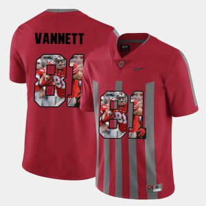 #81 Nick Vannett Ohio State Buckeyes Pictorial Fashion For Men's Jersey - Red