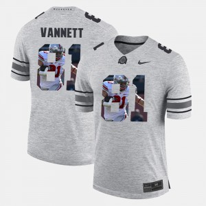 #81 Nick Vannett Ohio State Buckeyes Pictorital Gridiron Fashion Pictorial Gridiron Fashion Men's Jersey - Gray