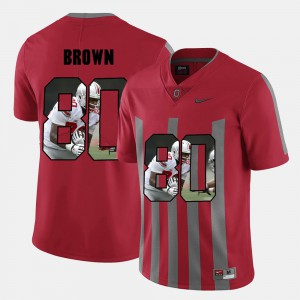 #80 Noah Brown Ohio State Buckeyes Pictorial Fashion Men Jersey - Red