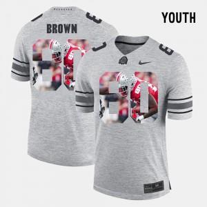 #80 Noah Brown Ohio State Buckeyes Pictorital Gridiron Fashion Pictorial Gridiron Fashion Youth Jersey - Gray