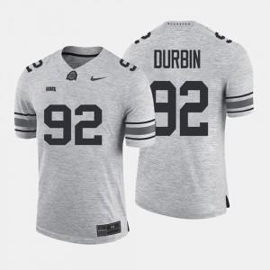 #92 Tyler Durbin Ohio State Buckeyes Mens Gridiron Limited Gridiron Gray Limited Jersey - Gray