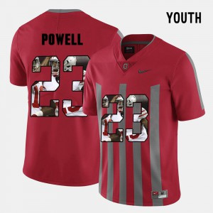 #23 Tyvis Powell Ohio State Buckeyes Pictorial Fashion For Kids Jersey - Red