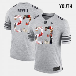 #23 Tyvis Powell Ohio State Buckeyes Pictorital Gridiron Fashion Pictorial Gridiron Fashion Youth Jersey - Gray