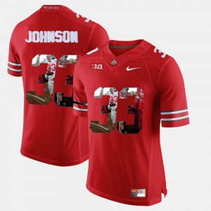 #33 Pete Johnson Ohio State Buckeyes Pictorial Fashion For Men's Jersey - Scarlet