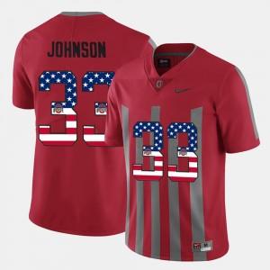 #33 Pete Johnson Ohio State Buckeyes Men US Flag Fashion Jersey - Scarlet