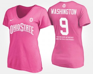 #92 Adolphus Washington Ohio State Buckeyes Ladies With Message T-Shirt - Pink