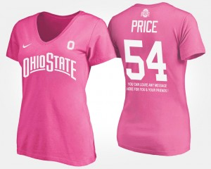 #54 Billy Price Ohio State Buckeyes With Message Women T-Shirt - Pink