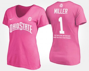 #5 Braxton Miller Ohio State Buckeyes For Women's With Message T-Shirt - Pink