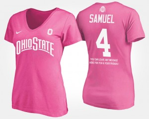 #4 Curtis Samuel Ohio State Buckeyes Womens With Message T-Shirt - Pink