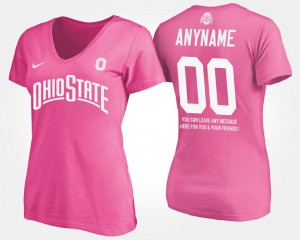 #00 Ohio State Buckeyes Ladies With Message Custom T-Shirts - Pink
