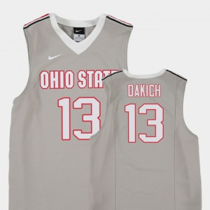 #13 Andrew Dakich Ohio State Buckeyes Replica College Basketball Youth Jersey - Gray