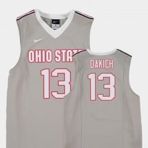 #13 Andrew Dakich Ohio State Buckeyes Replica College Basketball Youth Jersey - Gray