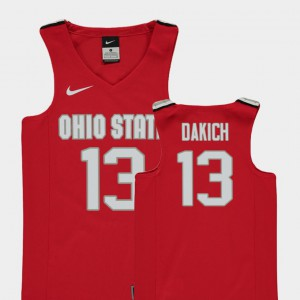 #13 Andrew Dakich Ohio State Buckeyes Replica College Basketball For Kids Jersey - Red