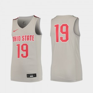 #19 Ohio State Buckeyes Kids Replica College Basketball Jersey - Gray