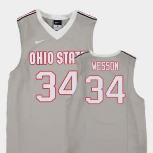 #34 Kaleb Wesson Ohio State Buckeyes Replica College Basketball For Kids Jersey - Gray