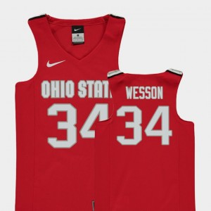 #34 Kaleb Wesson Ohio State Buckeyes Youth College Basketball Replica Jersey - Red