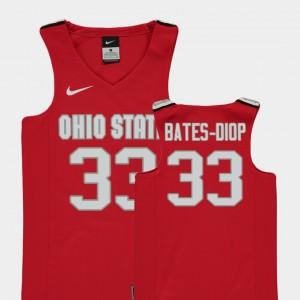 #33 Keita Bates-Diop Ohio State Buckeyes Youth(Kids) Replica College Basketball Jersey - Red