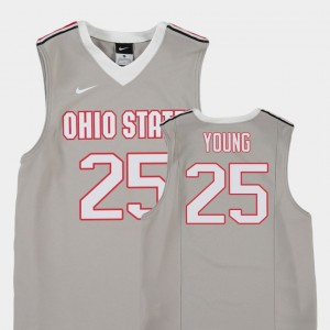#25 Kyle Young Ohio State Buckeyes Replica College Basketball Kids Jersey - Gray