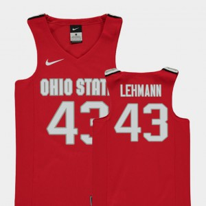 #43 Matt Lehmann Ohio State Buckeyes Youth(Kids) Replica College Basketball Jersey - Red